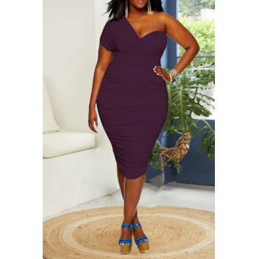 Lovely Chic One Shoulder Plus Size  Purple Knee Length Dress
