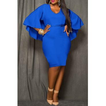 Lovely Work Cloak Design Plus Size Blue Knee Length Dress