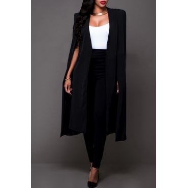 Lovely Casual Sleeveless Cloak Design Black Coat
