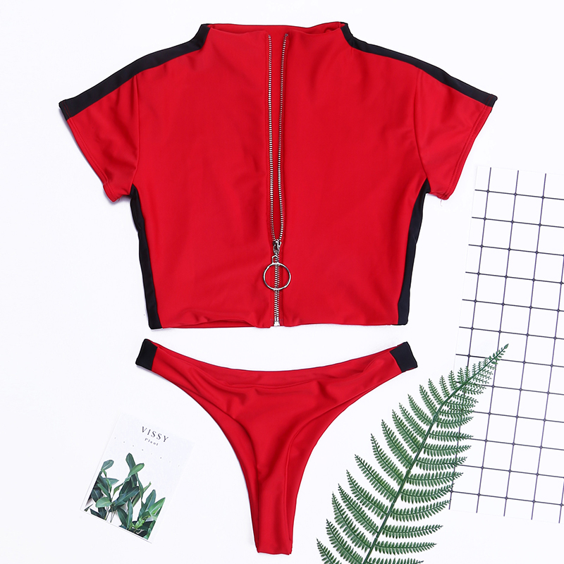 Lovely Casual  Zipper Design Red Two-piece Swimwear