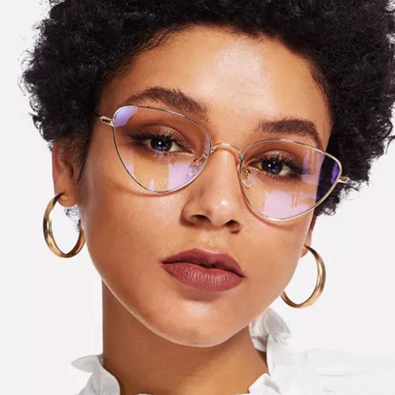 Lovely Trendy Cat s Eye Frame Design White Metal Sunglasses