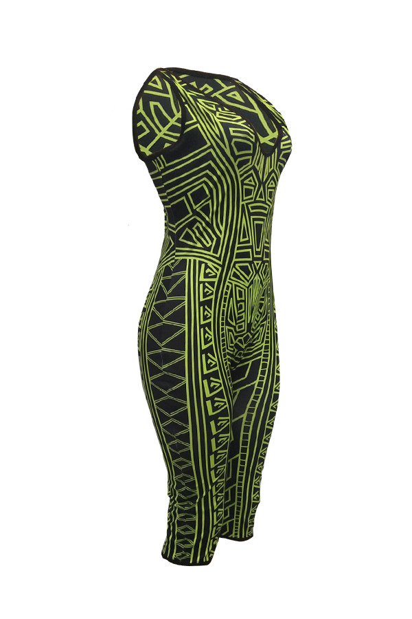 Lovely Casual Printed Green One-piece  Rompers
