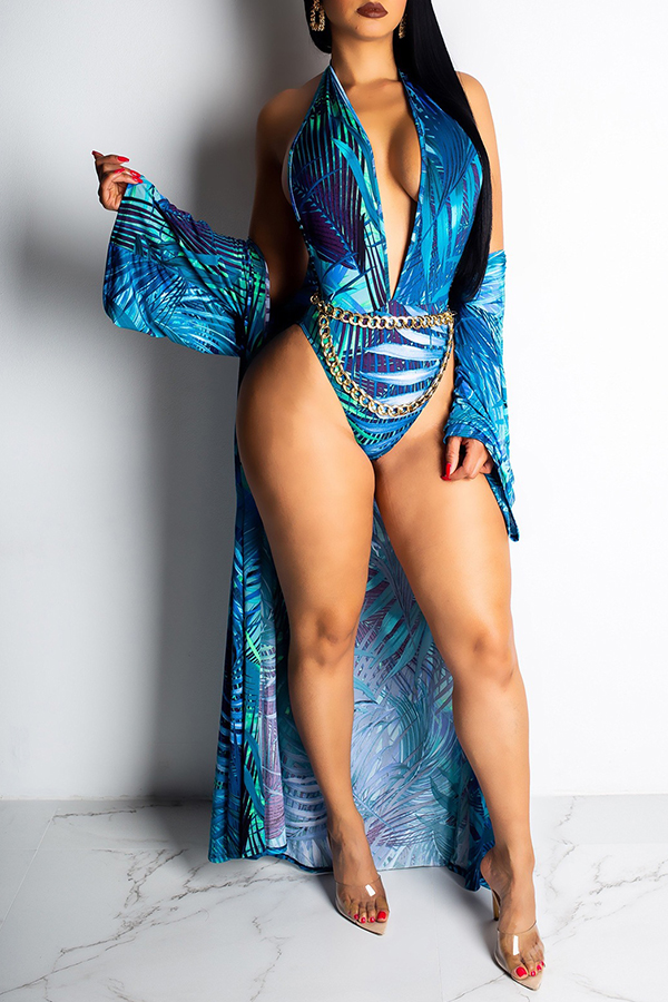 Lovely Trendy Floral Printed Blue One-piece Swimwears (With CoverUps,Without Accessories)