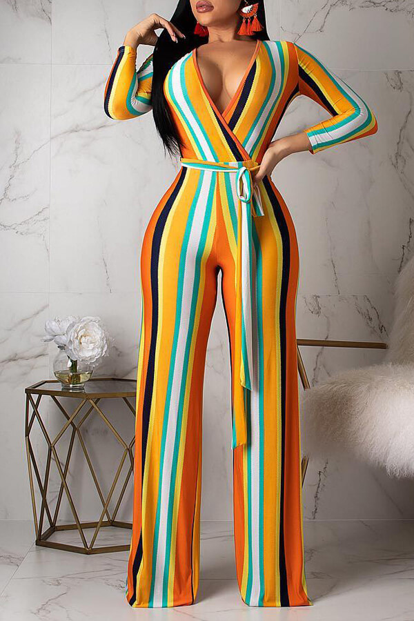 Lovely Casual Striped Yellow One-piece Jumpsuit