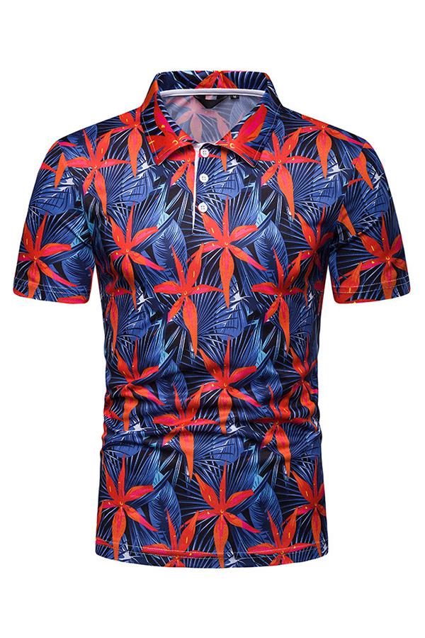Men Lovely Bohemian Floral Printed Deep Blue Polo Shirts фото