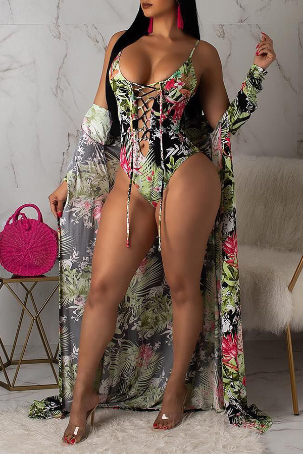 Lovely Trendy Drawstring Multicolor Bikinis (With CoverUps)