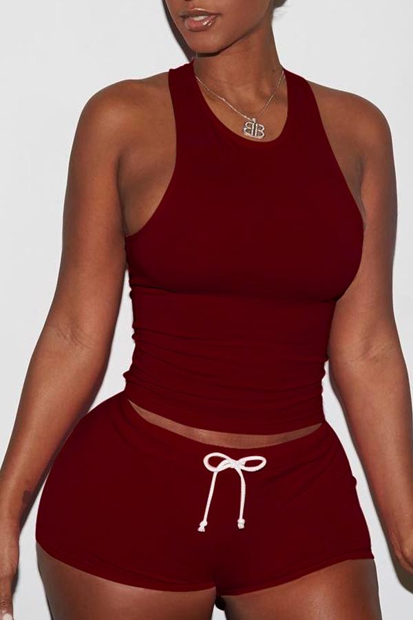 Lovely Sportswear Drawstring Wine Red Two-piece Shorts Set