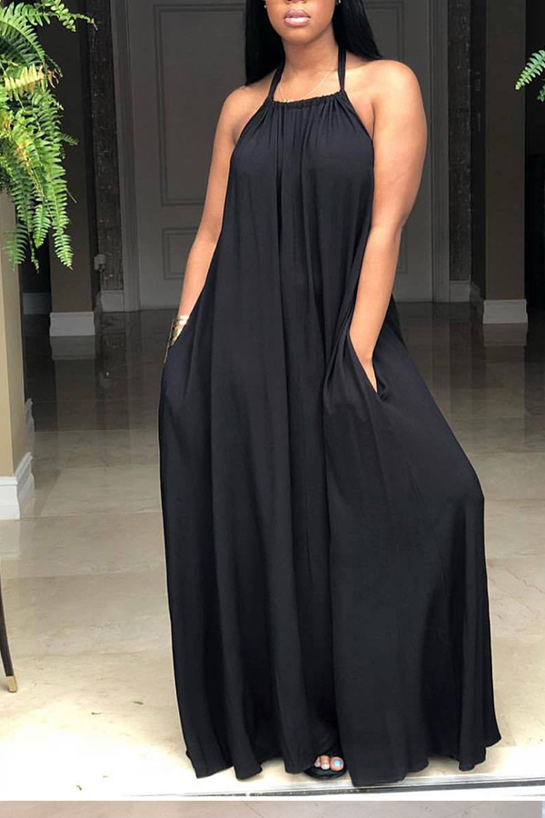 Lovely Casual Backless Black Ankle Length Dress