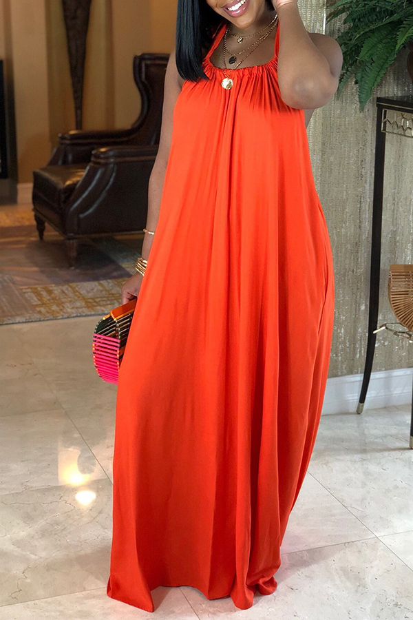 Lovely Casual Backless Jacinth  Ankle Length Dress