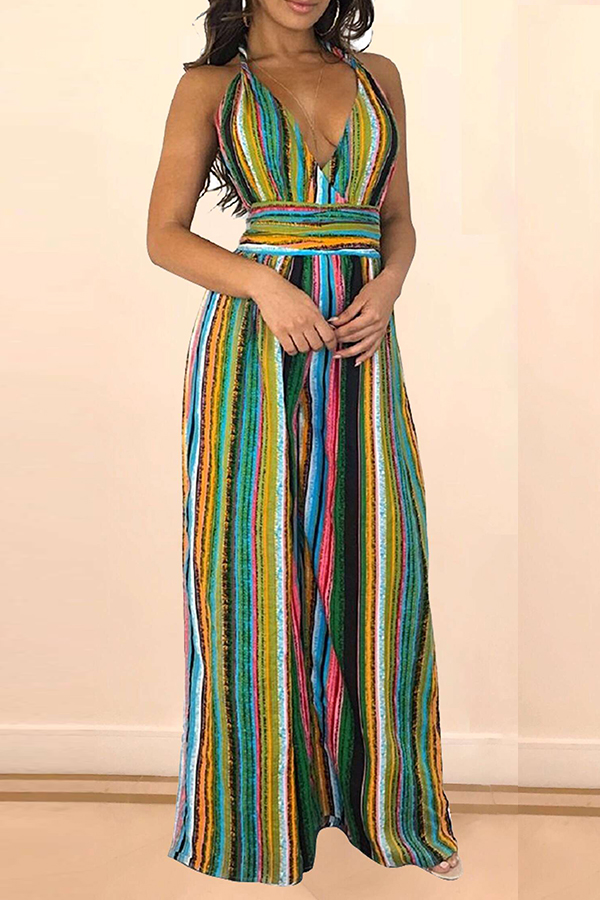 Lovely Bohemian Backless Striped Multicolor One-piece Jumpsuit