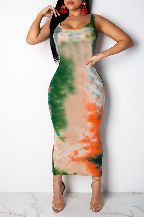 Lovely Casual Printed Skinny Green Blending Ankle Length Dress