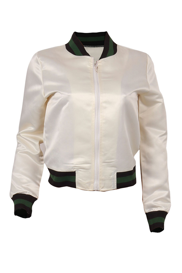 Lovely Casual Patchwork White Jacket