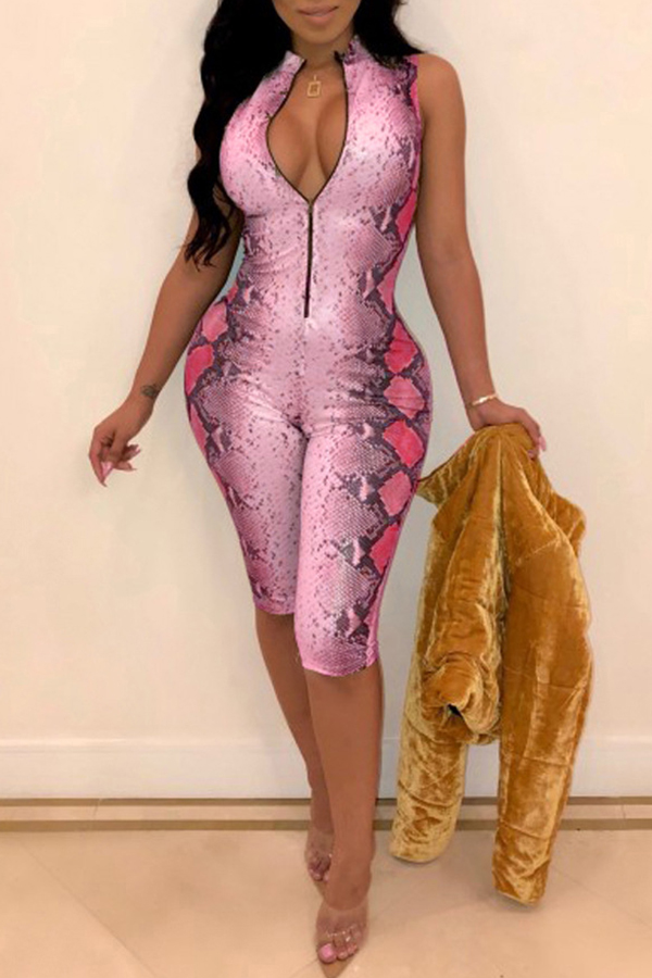 Lovely Sexy Animal Printed Rose Red Twilled Satin One-piece Romper