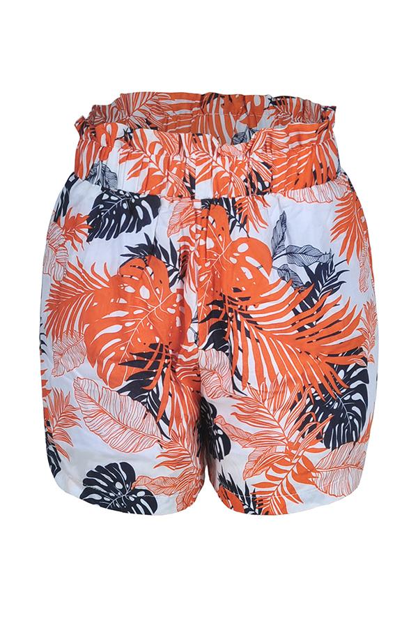 Lovely Bohemian Printed Orange Shorts