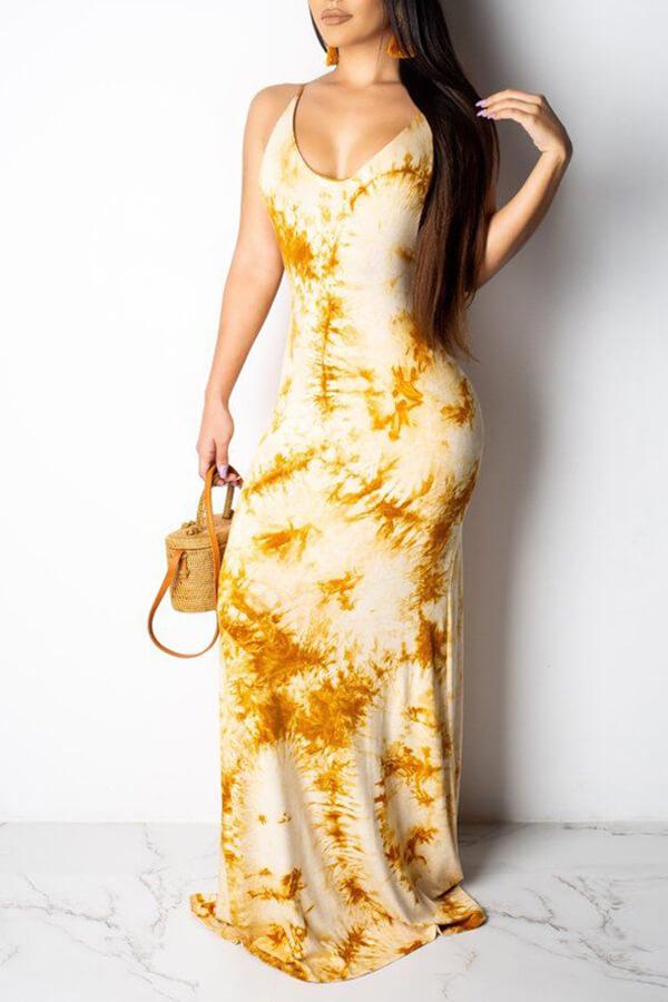 Lovely Sweet Backless Yellow Floor Length Printed Dress