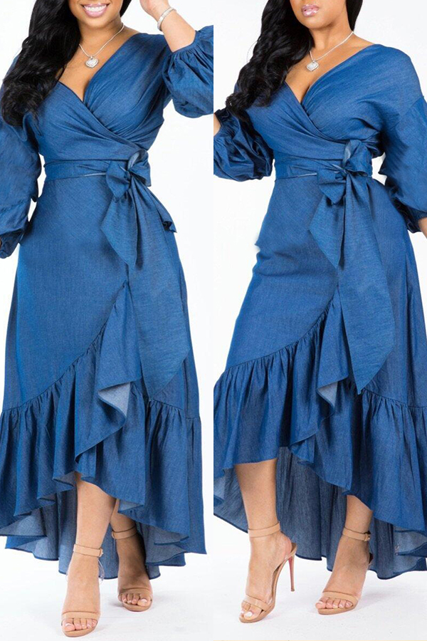 Lovely Trendy Asymmetrical  Dark Blue Denim Mid Calf  Dress