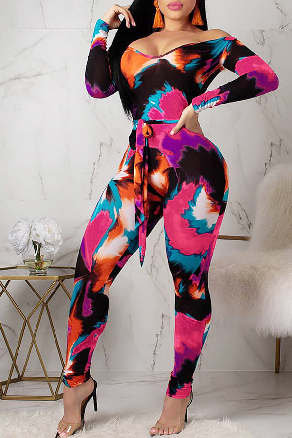 Lovely Casual Printed Lace-up Multicolor Blending One-piece Jumpsuit