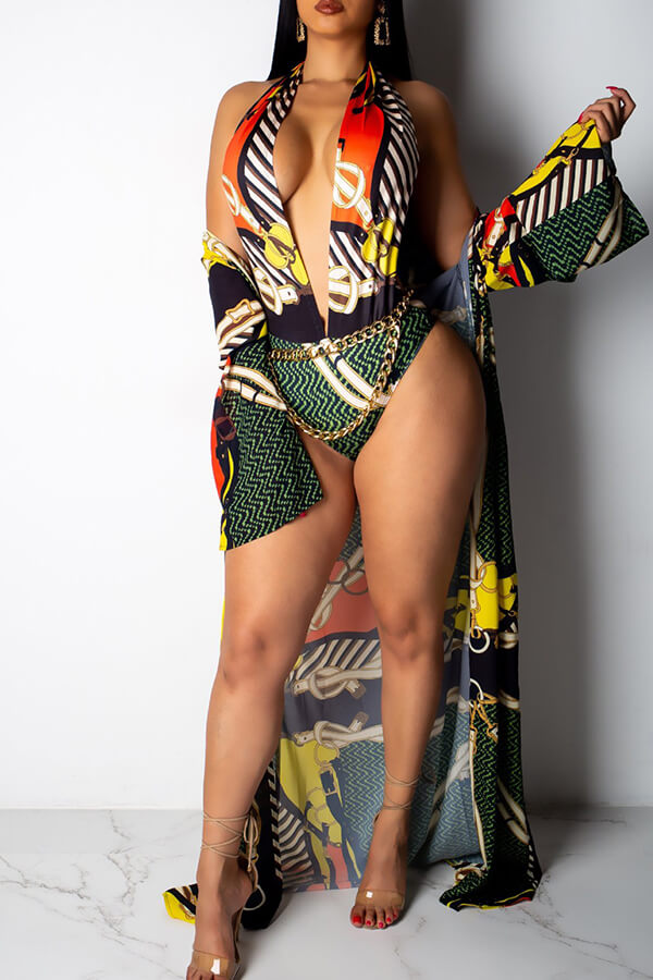 Lovely Sexy Printed Multicolor One-piece Swimwear (With Cover-up)