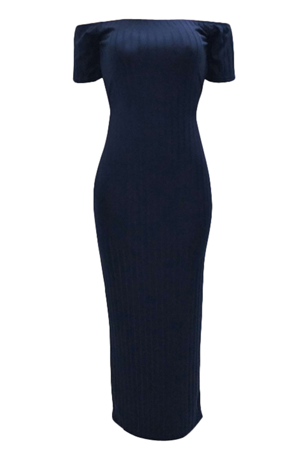 Lovely Trendy Backless Dark Blue Ankle Length Dress