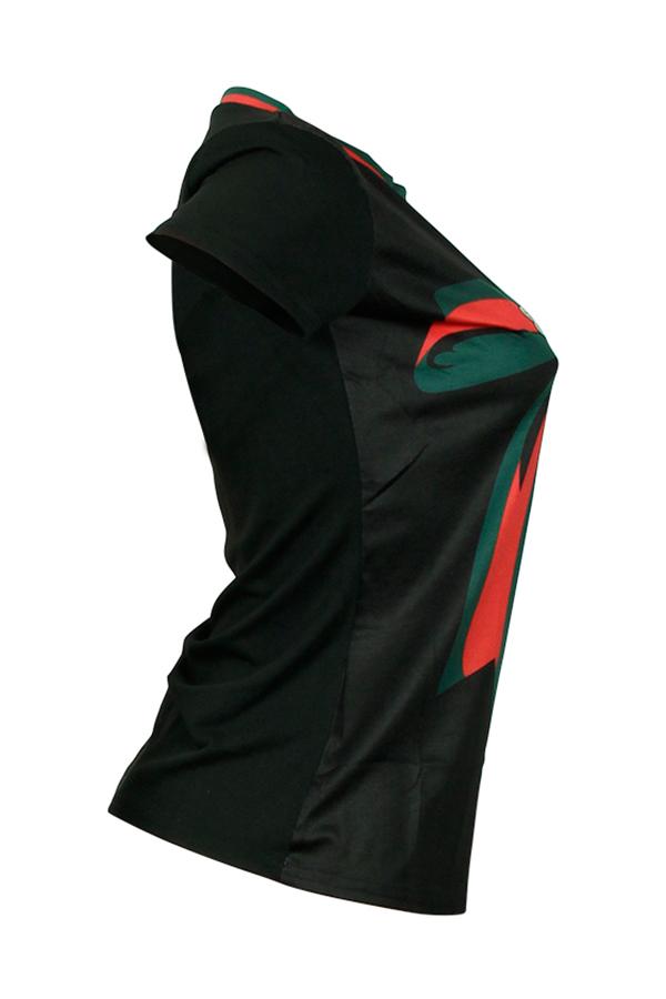 Bow Print Round Neck Black Cotton Blends T-shirt Short Sleeves