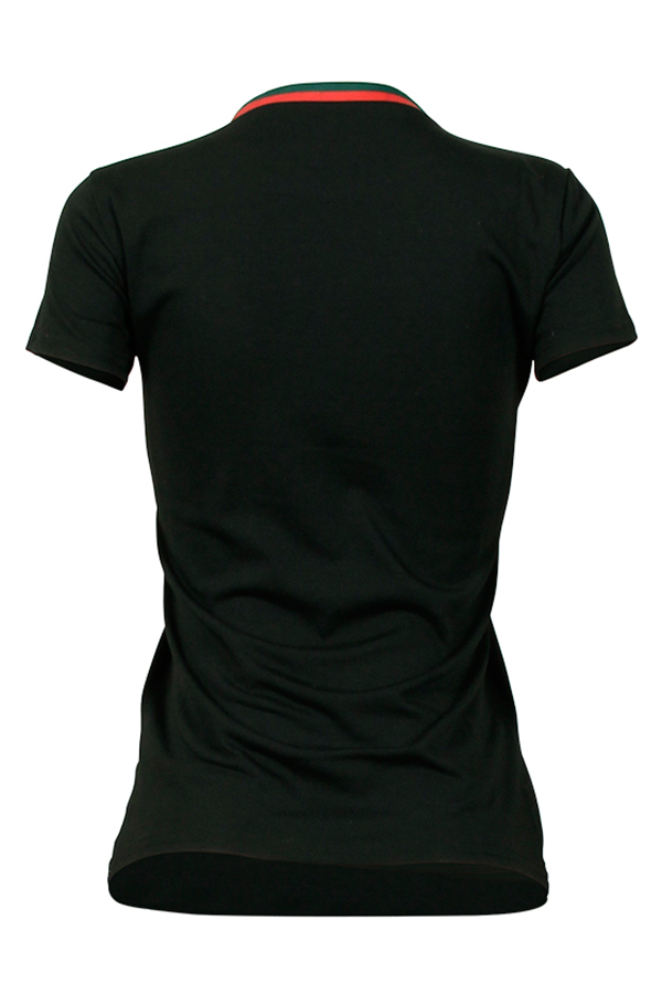 Bow Print Round Neck Black Cotton Blends T-shirt Short Sleeves