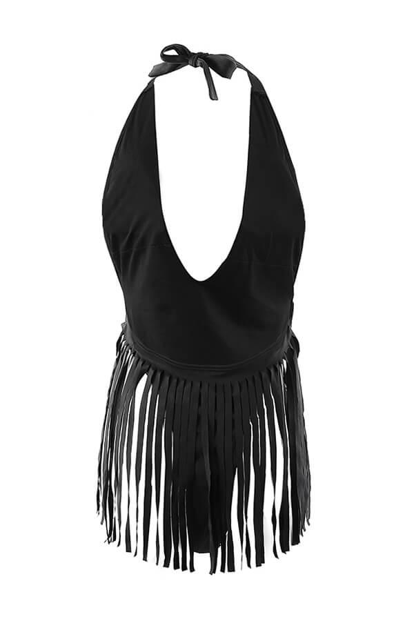 Lovely Sexy Tassel Design Black One-piece Swimwears