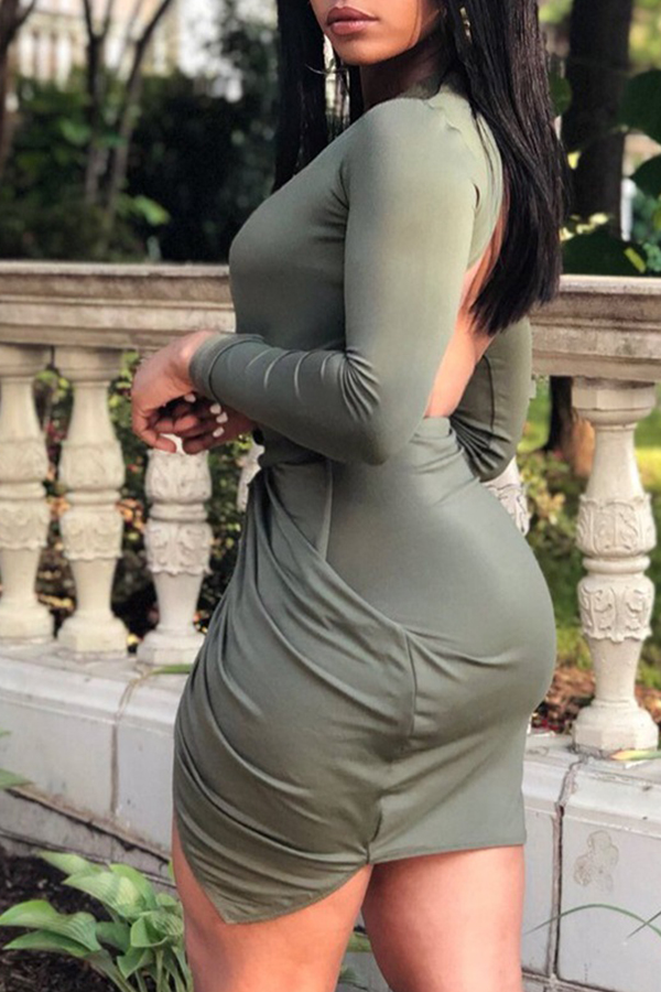 Lovely Sexy Lace-up Hollowed-out Green Mini  Dress