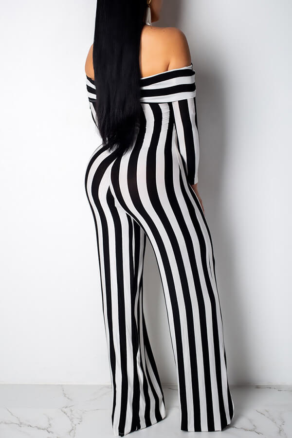 Lovely Casual Striped Black And White One-piece Jumpsuit