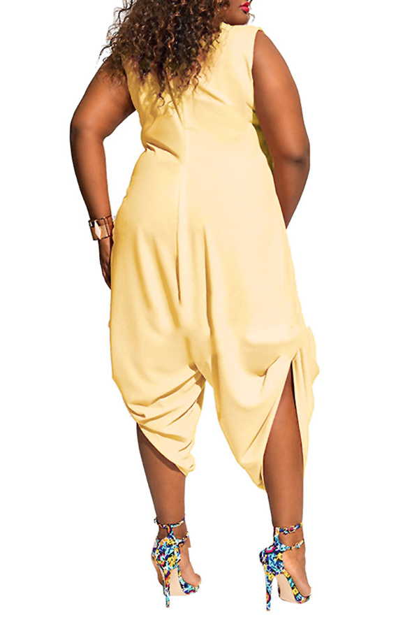 Lovely Trendy Loose Plus Size  Yellow One-piece Jumpsuit