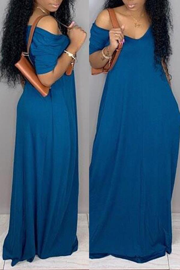 Lovely Casual Pockets Design Blue Blending Floor Length Dress