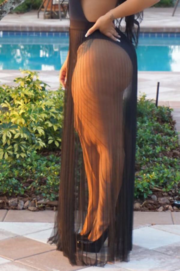 Lovely Trendy Loose Black Skirt CoverUps