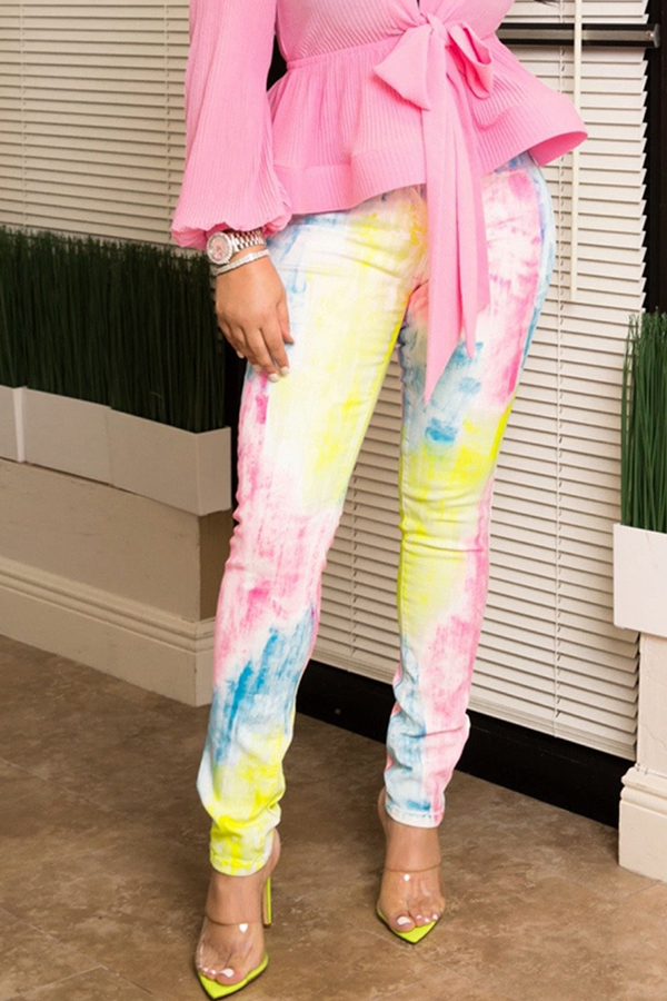 Lovely Casual Printed Skinny Multicolor Pants