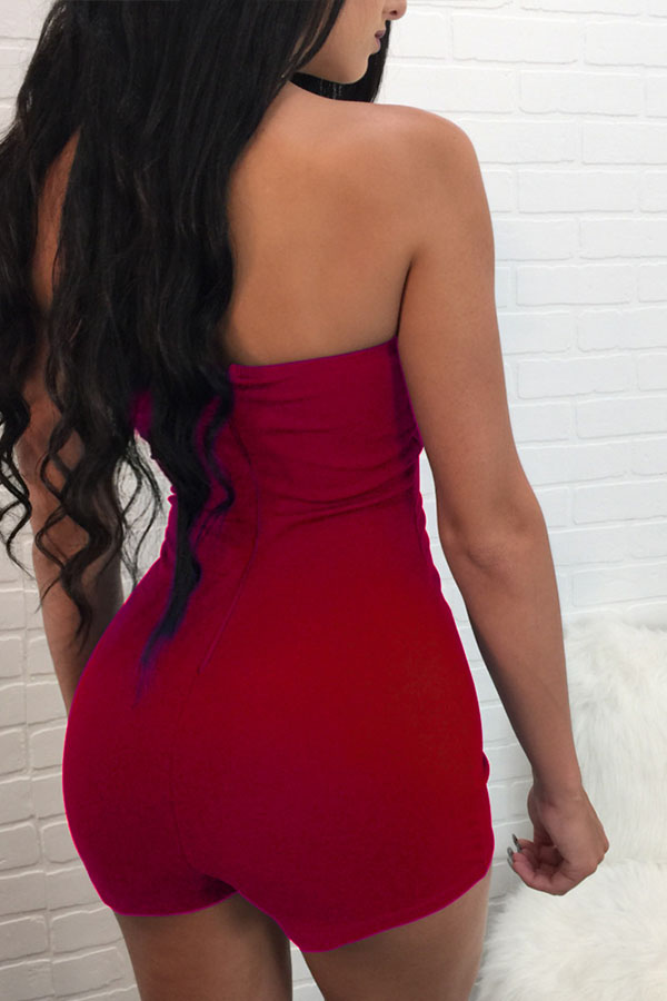 Lovely Casual Bandage Design Red One-piece Rompers