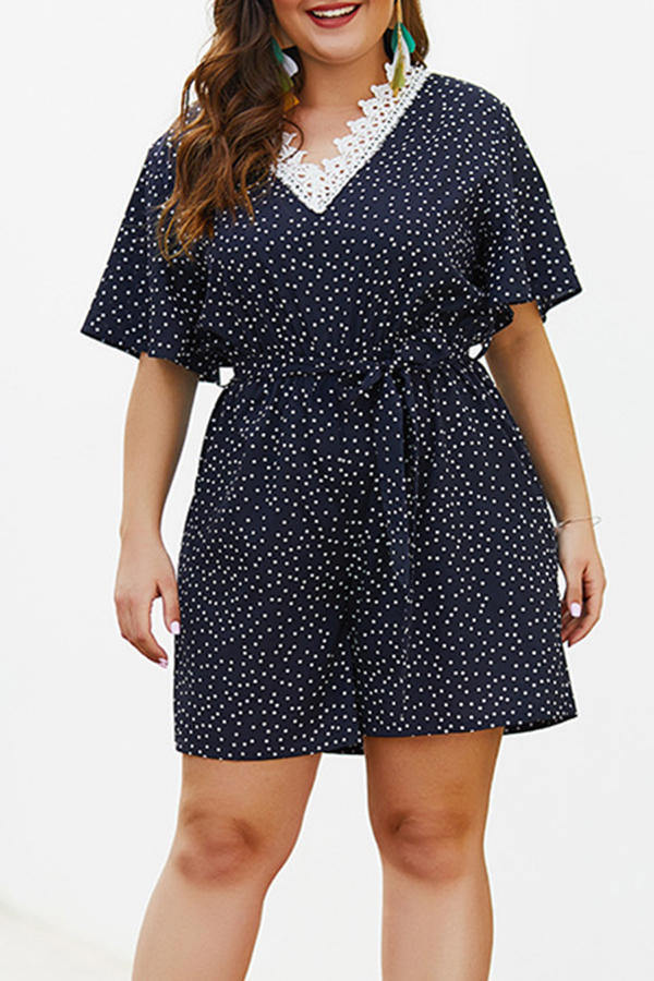 Lovely Plus-size Dot Printed Navy Blue One-piece Romper