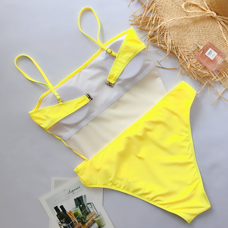 Lovely Sexy Knot Design Yellow One-piece Swimwear