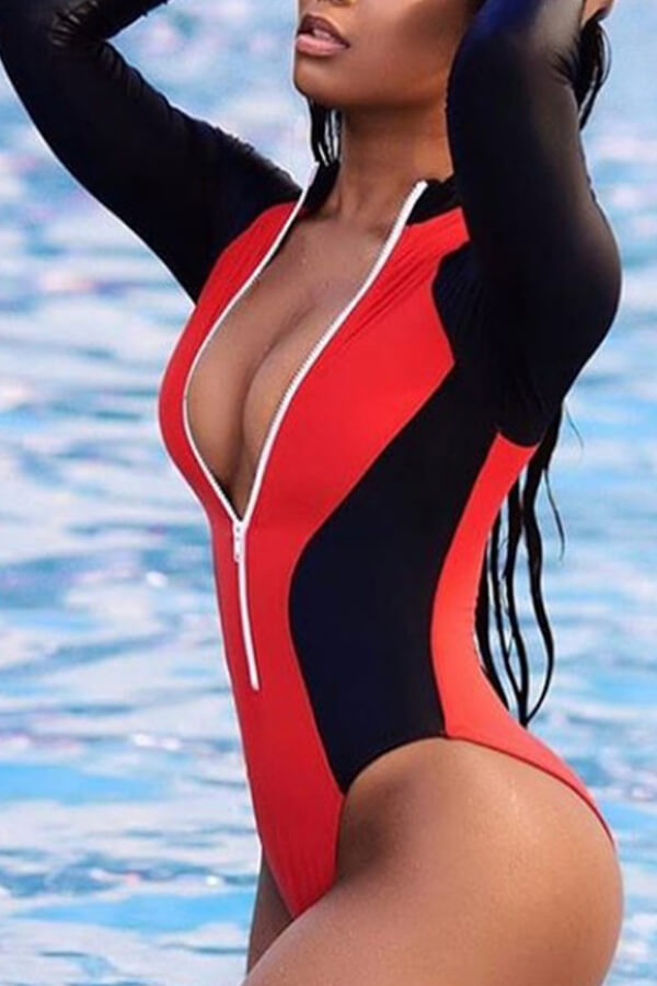 Lovely Trendy Color Lump Patchwork Red One-piece Swimwears