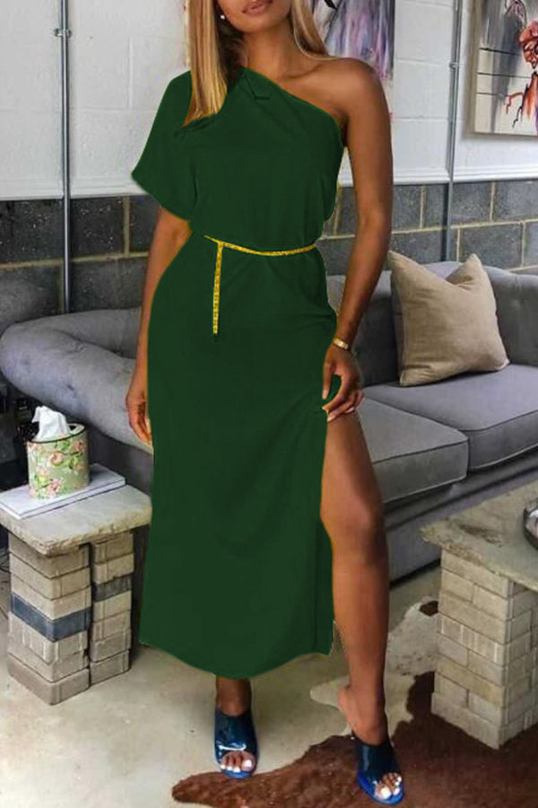 Lovely Casual One Shoulder Green Mid Calf Dress(Without Belt)