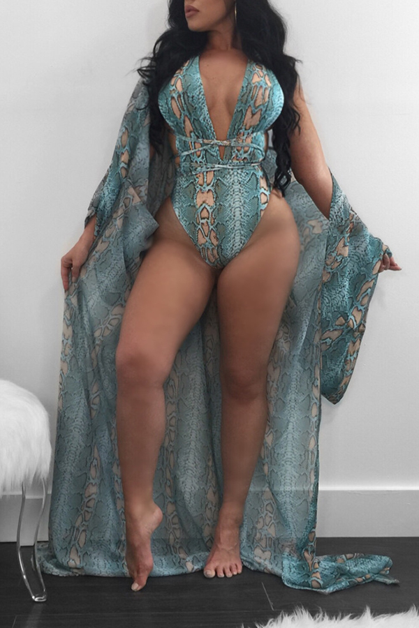 Lovely Trendy Print Blue One-piece Swimsuit (With Cover-up)