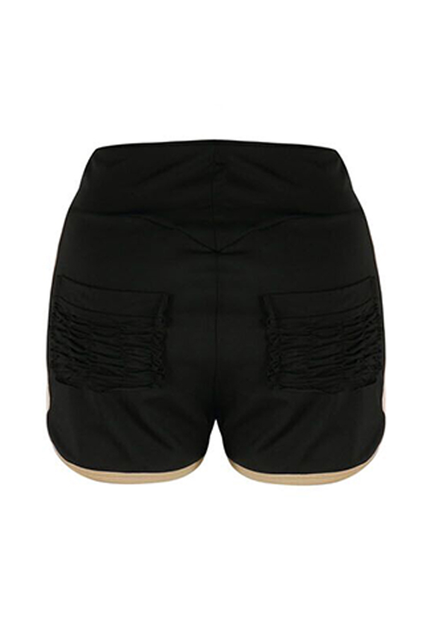 Lovely Casual Drape Design Black Shorts