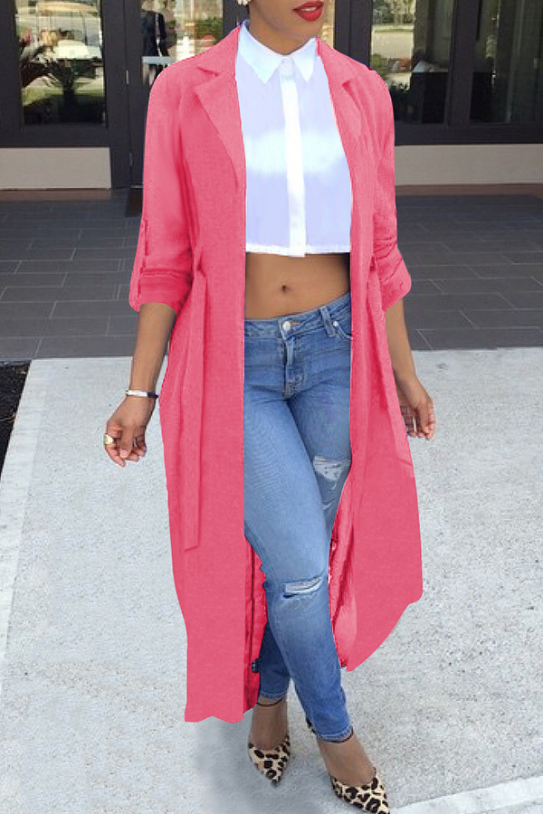 Lovely Casual Long Sleeve Light Pink Chiffon Coat