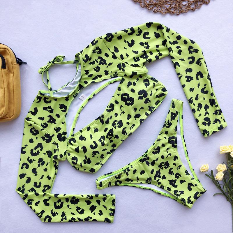 Lovely Leopard Print Hollow-out Green Two-piece Swimwear