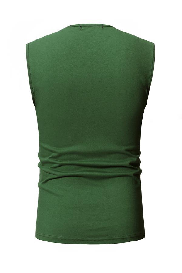 Lovely Casual Dark Green Cotton Vest
