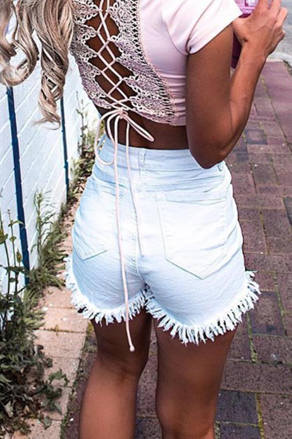 Lovely Casual High Wasit Tassel Design White Shorts
