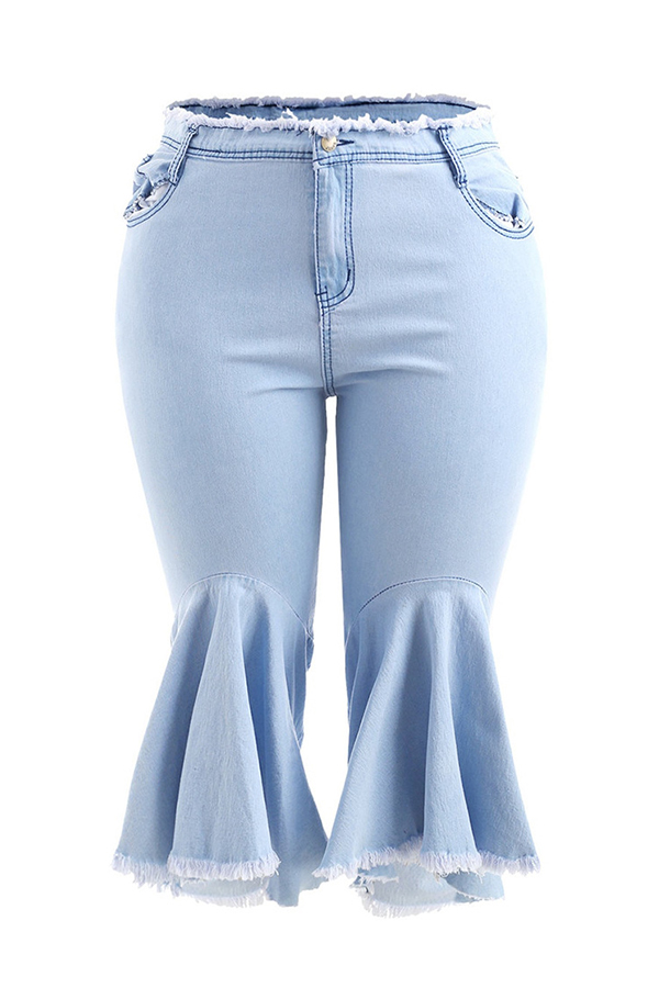 Lovely Stylish Tassel Design Light Blue Flared Trousers