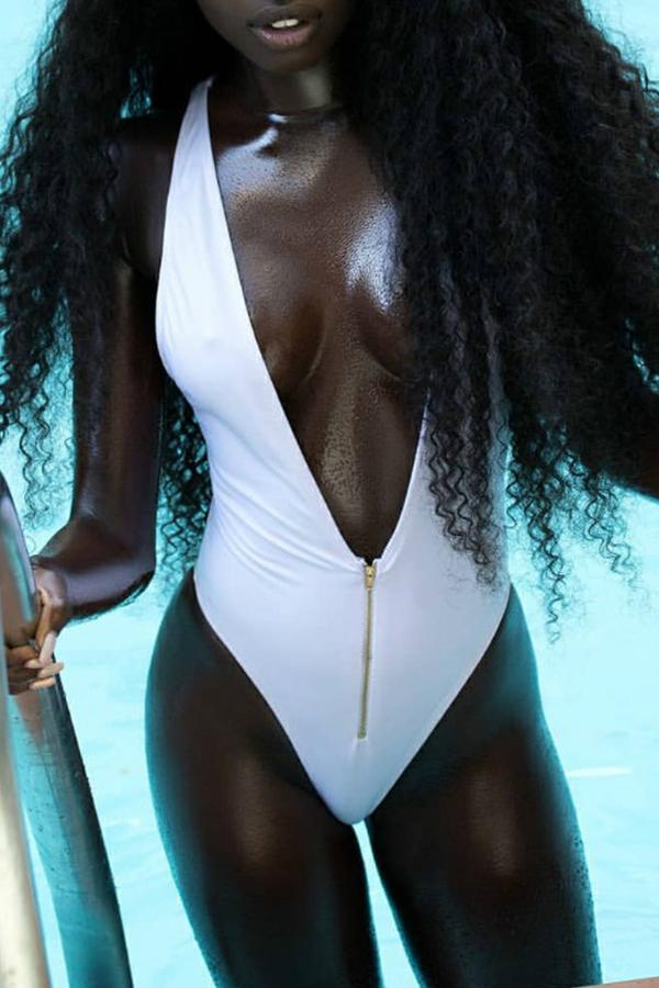 Lovely Sexy Deep V Neck White One-piece Swimwear