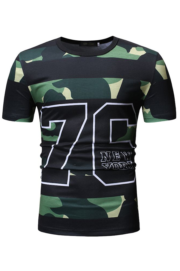 Lovely Casual Camouflage Printed Army Green T-shirt
