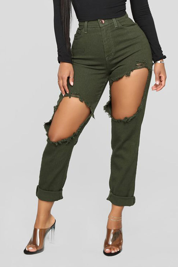 Lovely Trendy Broken Holes Army Green Jeans