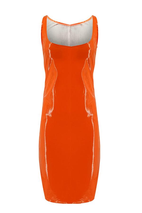 Lovely Sexy U Neck Sleeveless  Jacinth  Knee Length Dress