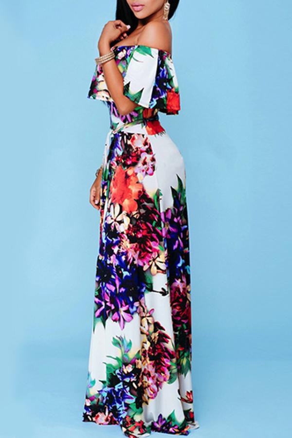 Lovely Polyester Sweet Print Off The Shoulder Half Sleeve Bateau Neck Floor length Printed Dress Yes(Elastic) Dresses