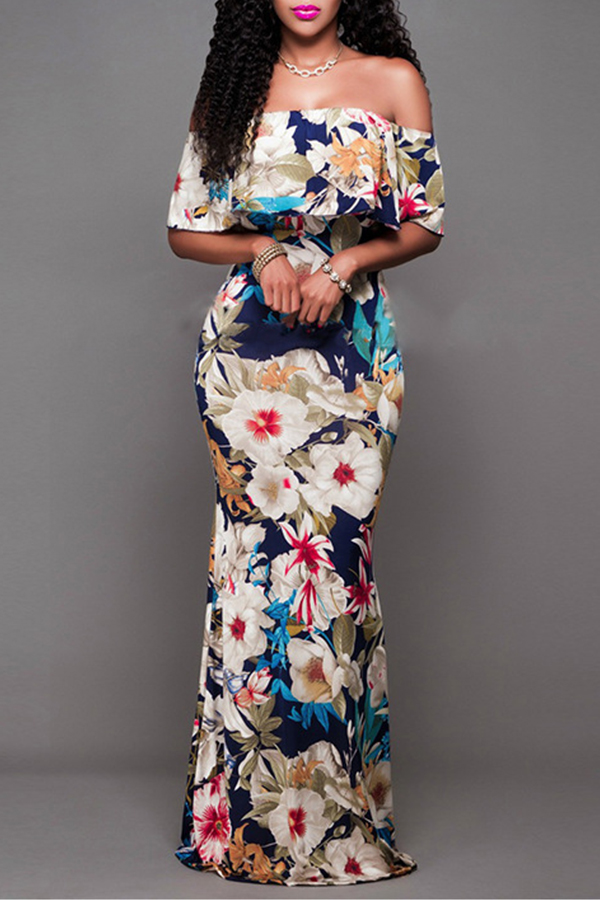 Lovely Sweet Dew Shoulder Multicolor Floor Length Dress